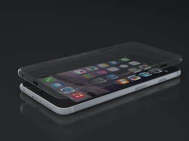 iphone cover and glass render