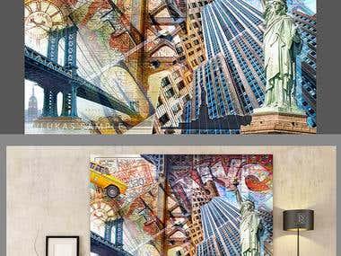 Large format digital art collage