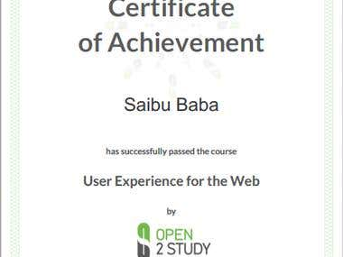 User Experience Certificate