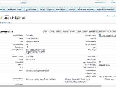 Contacts to Salesforce Database