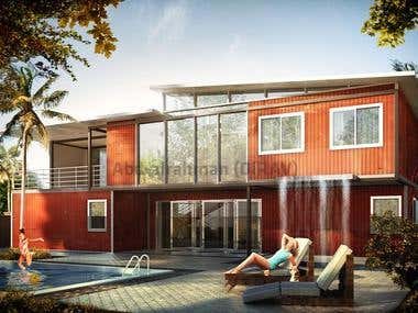 3D Container villa Visualization