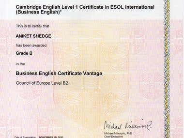 Cambridge English Language Assessment Certificate