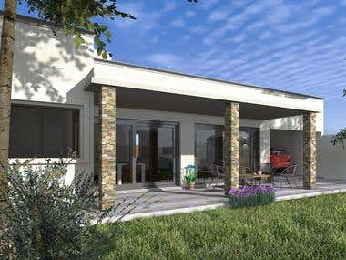Pampa´s House design and rendering work. 110 mts square.