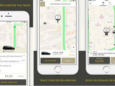 Uber type Taxi Booking Application.