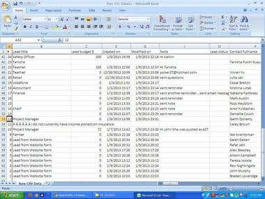 Microsoft Excel CSV tidied up