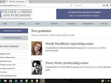 College of Media and Publishing Success Page