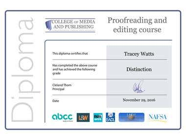 Proofreading & Editing Diploma with Distinction