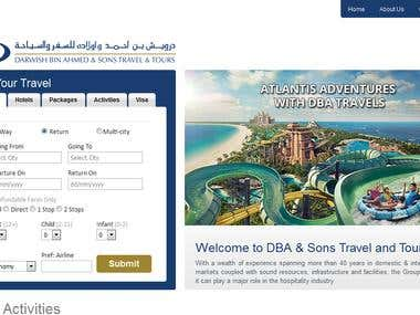 Website design and development for DBA tours and travels