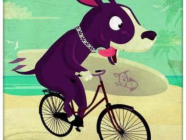 dog bike surfing
