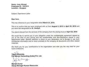 Mercer Exp Letter