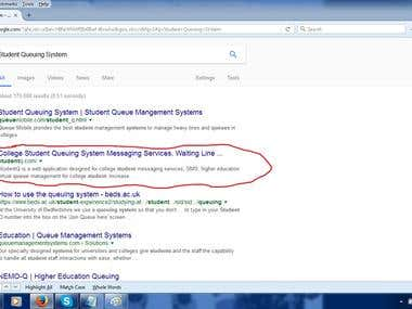 First Page on Google.com for Student Queuing System Keyword
