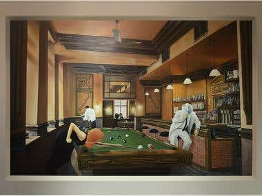 #billiard girl wall mural