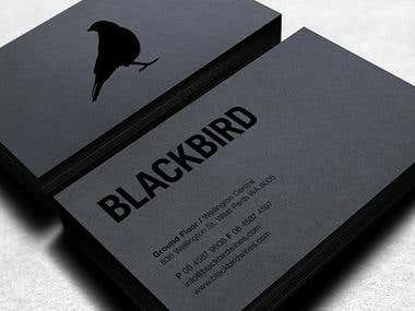 business card black bird wine