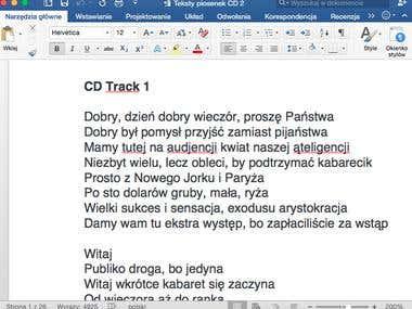 Transkript 31 piosenek polskich