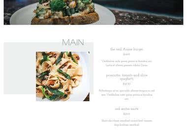 WordPress Layout for restaurant