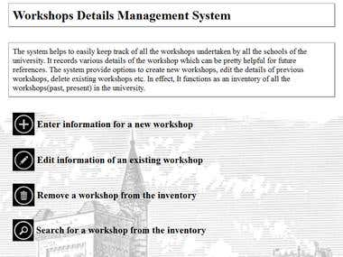 Workshop Management System