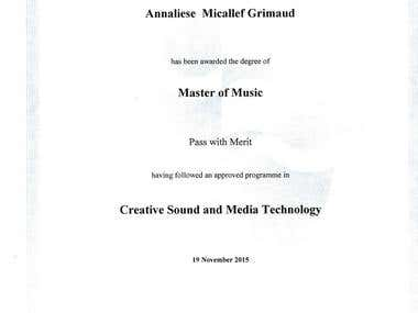Masters of Music in Creative Sound and Media Technology