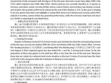 Sample - an online news report about Chinese movie