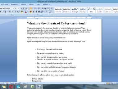 "Writings on ""Threats of cyber Terrorism"""