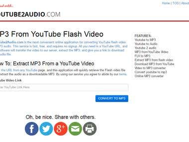 Youtube to Audio Conversion Website