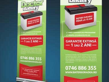 Graphic design for car battery shop