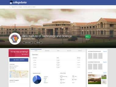 Web UI Design and Development - CollegeDunia