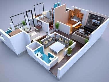 3d RENDER Floor Plans