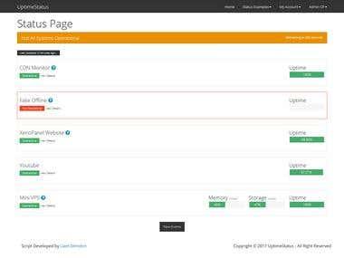 UptimeStatus Monitoring - Main Page