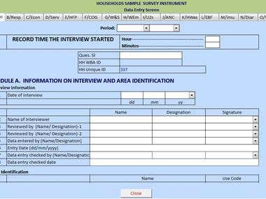Survey data entry screen and Auto output generate