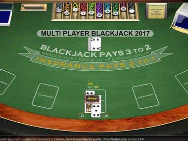 Multi Player Black Jack - 2 Player Card Game Website