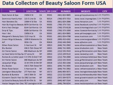 Data collection Beauty salon in USA