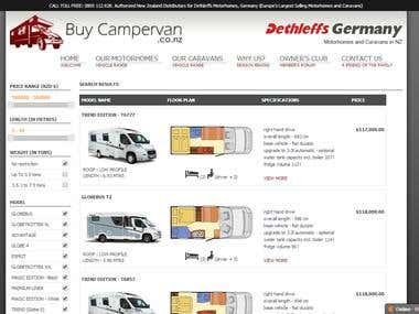 Website for Acacia Motorhomes Dealer in New Zealand