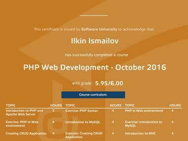 PHP Web Development Certificate (Symfony)