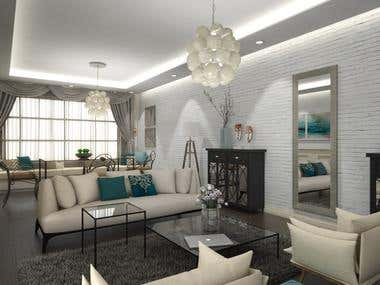 Interior Design and Rendering - living area