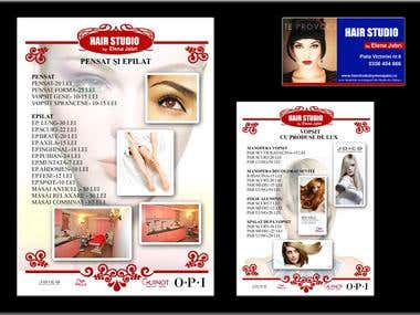 Business card and a part of the price lists