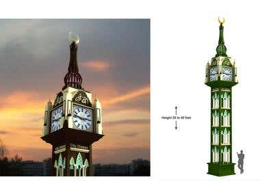 Clock tower 3d Design and render