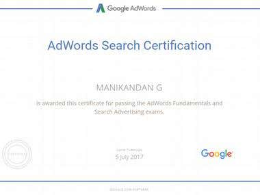 Google Adwords Search Ads Certified Professionals