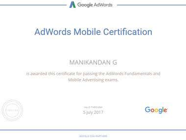 Google AdWords Mobile Advertising Certified Professionals