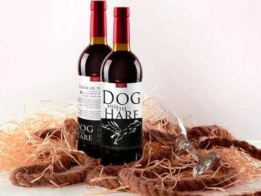 "Wine label for ""Dog and the Hare"""