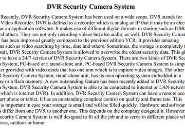 Article about DVR camera systems