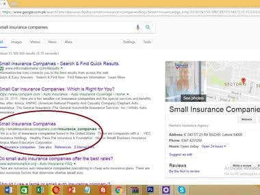 SEO+ Organic Result for Small insurance Companies List