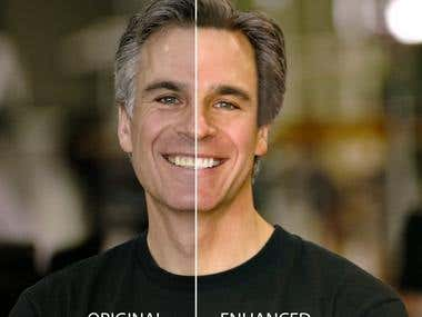 Mature man's face - original and enhanced