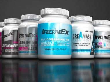 Design bottle packaging for gym supplement