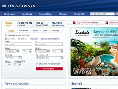 US Airways - User Interface and Website Development