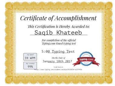 Typing Speed Certificate