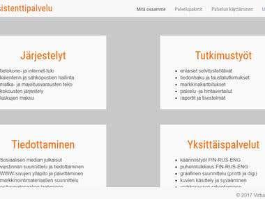 Website design - project Virtuaaliassistenttipalvelu