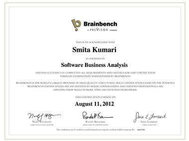 Brainbench Software Business Analysis Certification