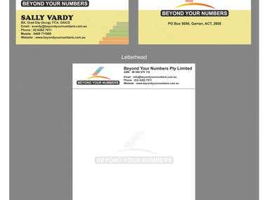 Beyond Your Numbers Business Card and Letterhead