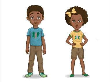 Boy and girl cartoon