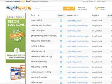 1st positions for Large Racking Website in UK